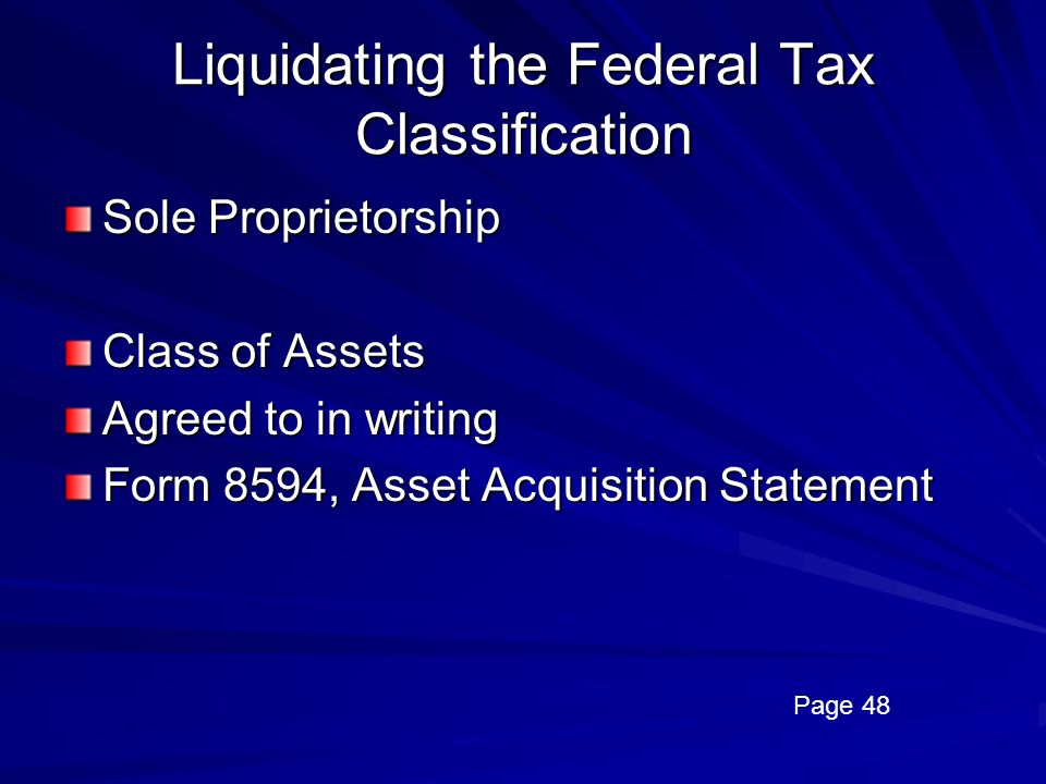 Liquidating the Federal Tax Classification
