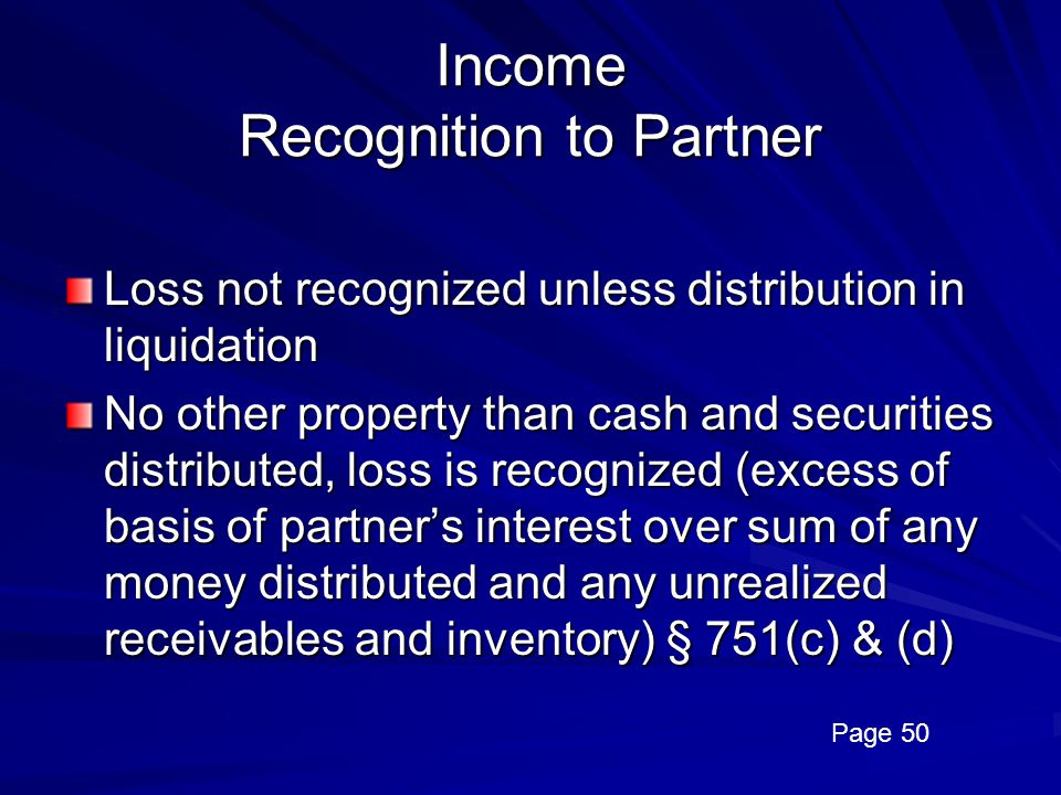 Income Recognition to Partner