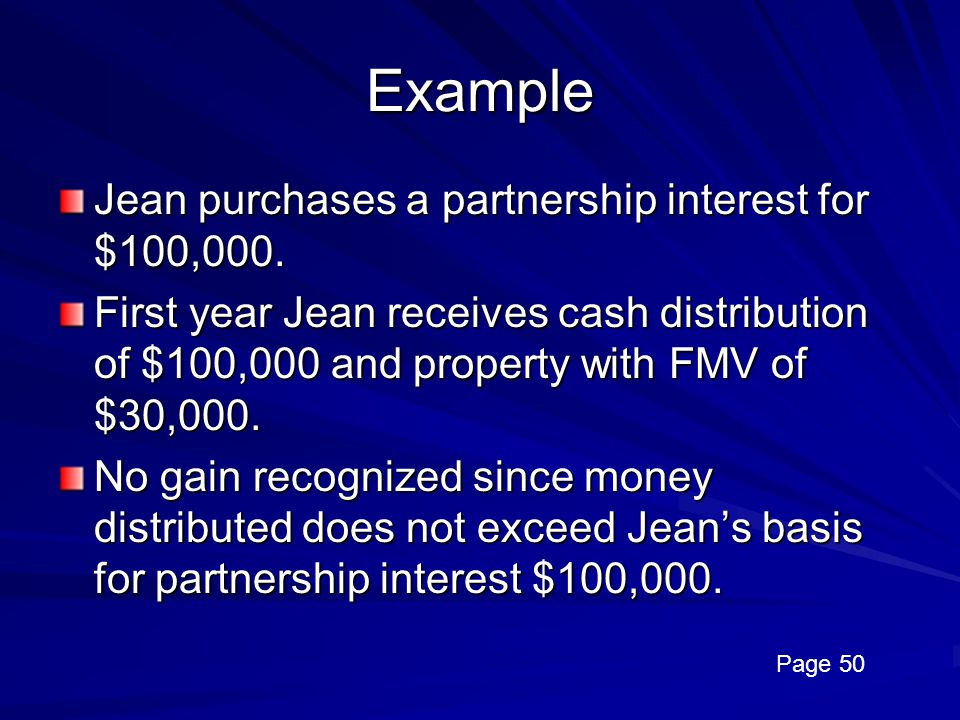 Example Jean purchases a partnership interest for $100,000.