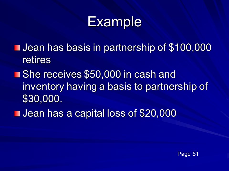 Example Jean has basis in partnership of $100,000 retires