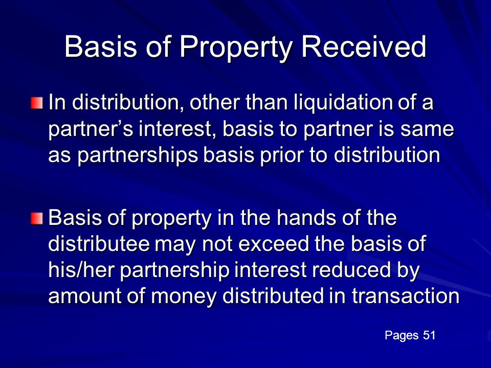 Basis of Property Received