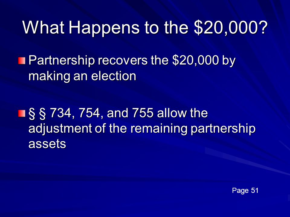 What Happens to the $20,000 Partnership recovers the $20,000 by making an election.