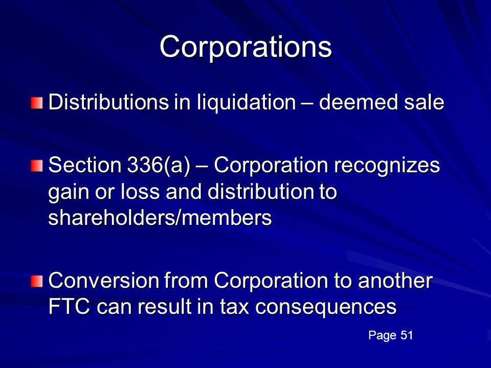 Corporations Distributions in liquidation – deemed sale