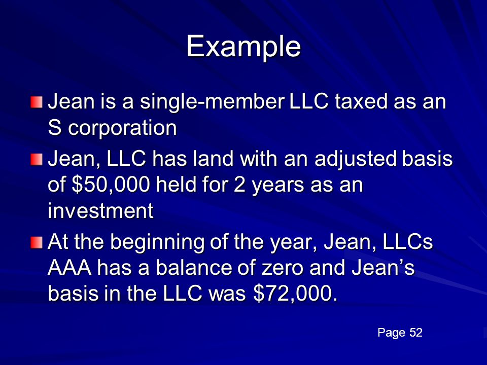 Example Jean is a single-member LLC taxed as an S corporation