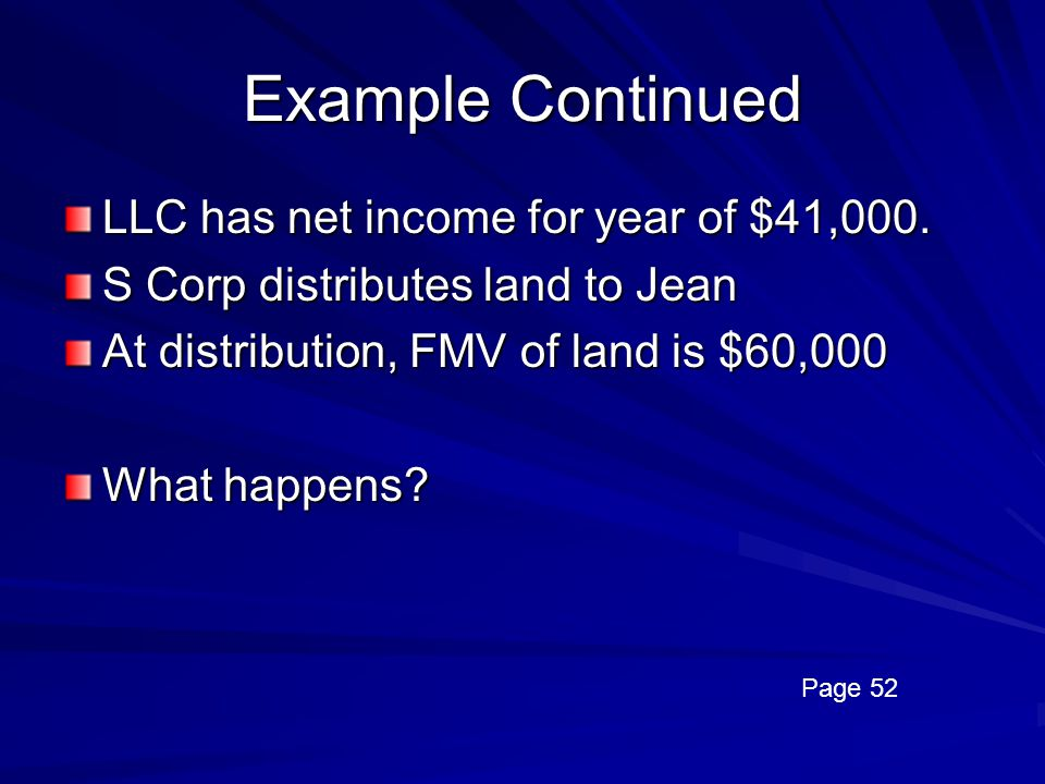 Example Continued LLC has net income for year of $41,000.