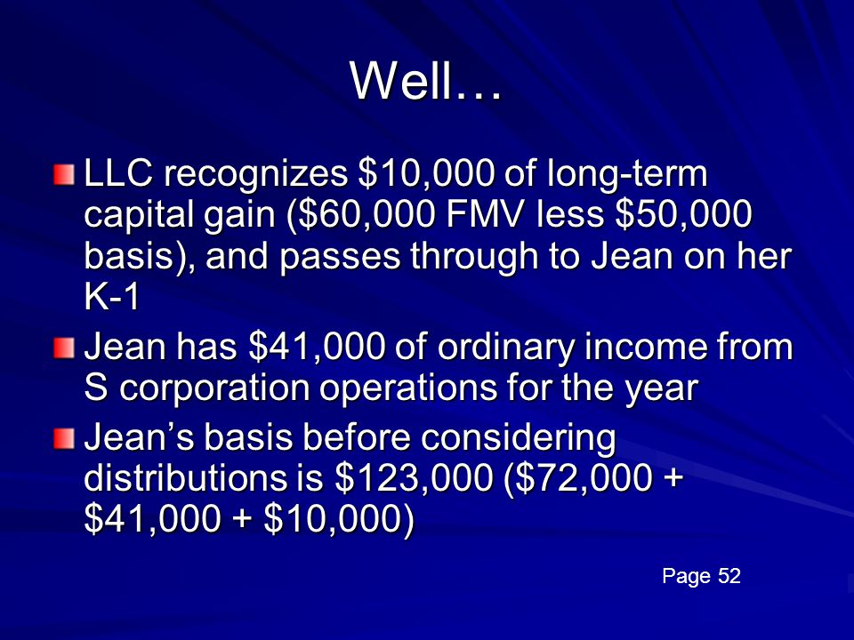 Well… LLC recognizes $10,000 of long-term capital gain ($60,000 FMV less $50,000 basis), and passes through to Jean on her K-1.