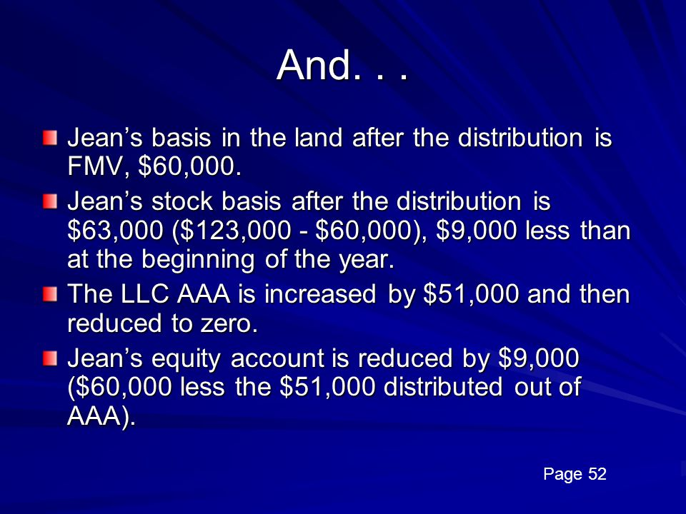 And. . . Jean's basis in the land after the distribution is FMV, $60,000.