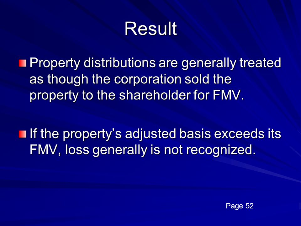 Result Property distributions are generally treated as though the corporation sold the property to the shareholder for FMV.
