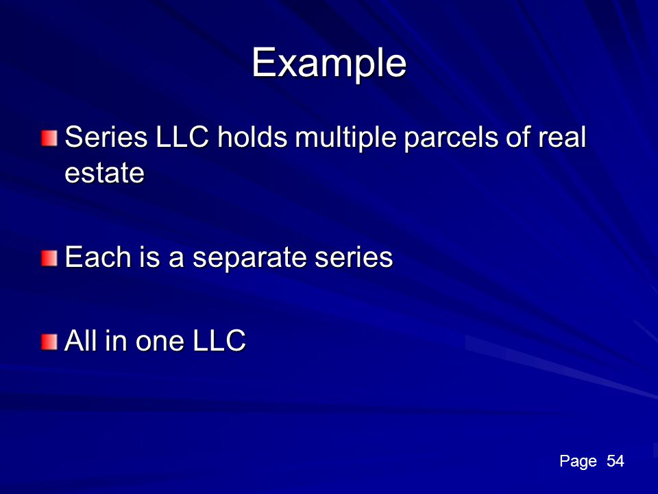 Example Series LLC holds multiple parcels of real estate