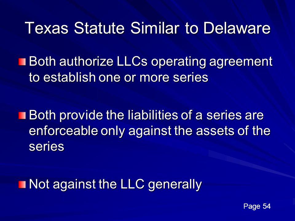 Texas Statute Similar to Delaware