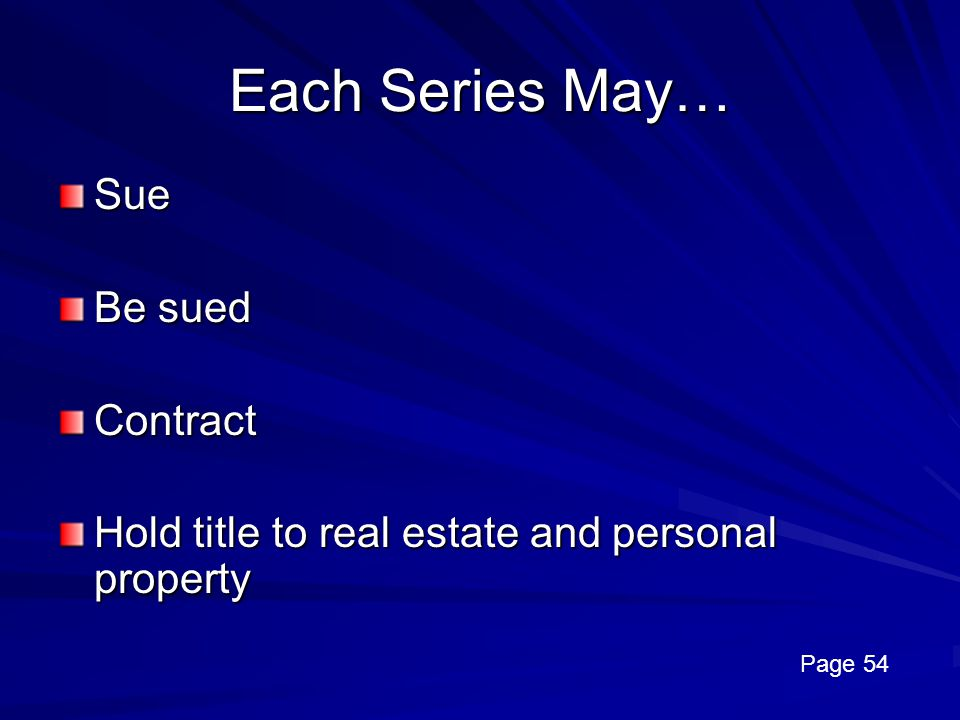 Each Series May… Sue Be sued Contract