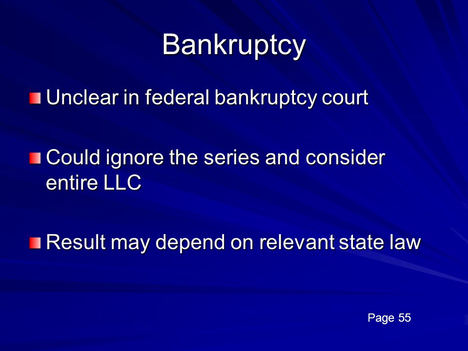 Bankruptcy Unclear in federal bankruptcy court