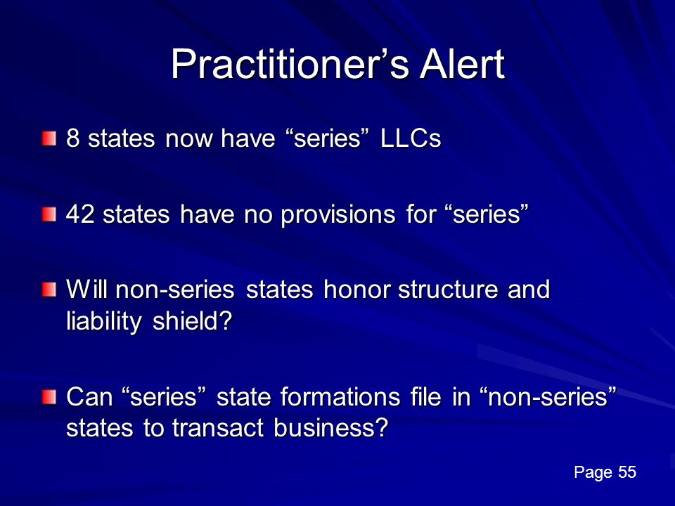 Practitioner's Alert 8 states now have series LLCs