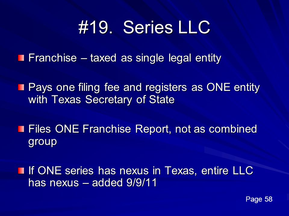 #19. Series LLC Franchise – taxed as single legal entity