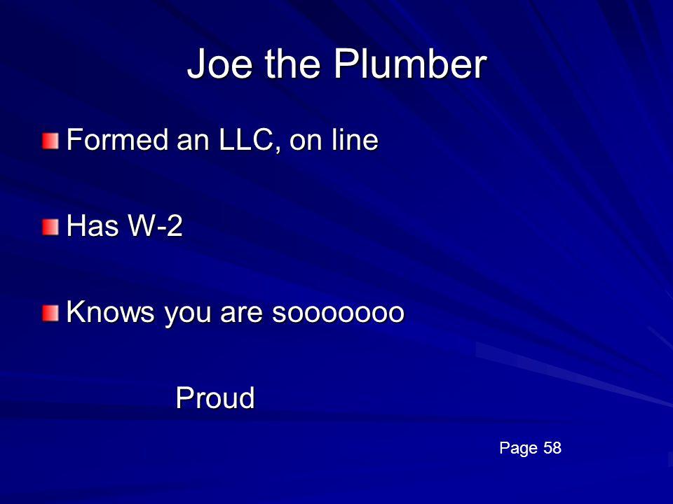 Joe the Plumber Formed an LLC, on line Has W-2 Knows you are sooooooo