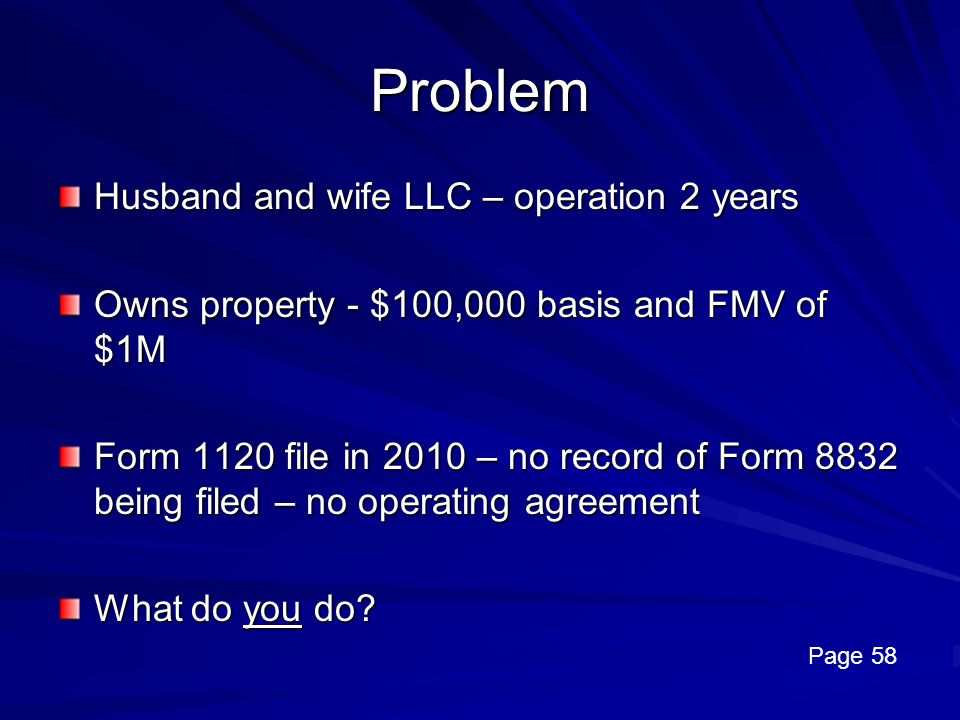Problem Husband and wife LLC – operation 2 years