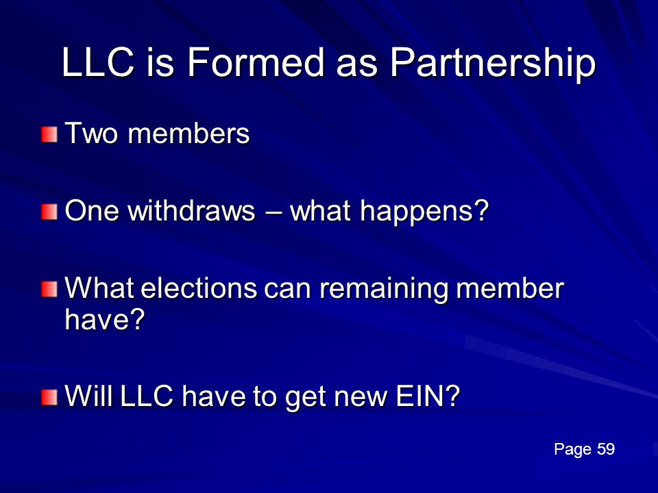 LLC is Formed as Partnership