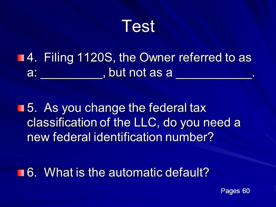 Test 4. Filing 1120S, the Owner referred to as a: _________, but not as a ___________.