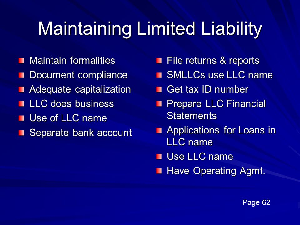 Maintaining Limited Liability