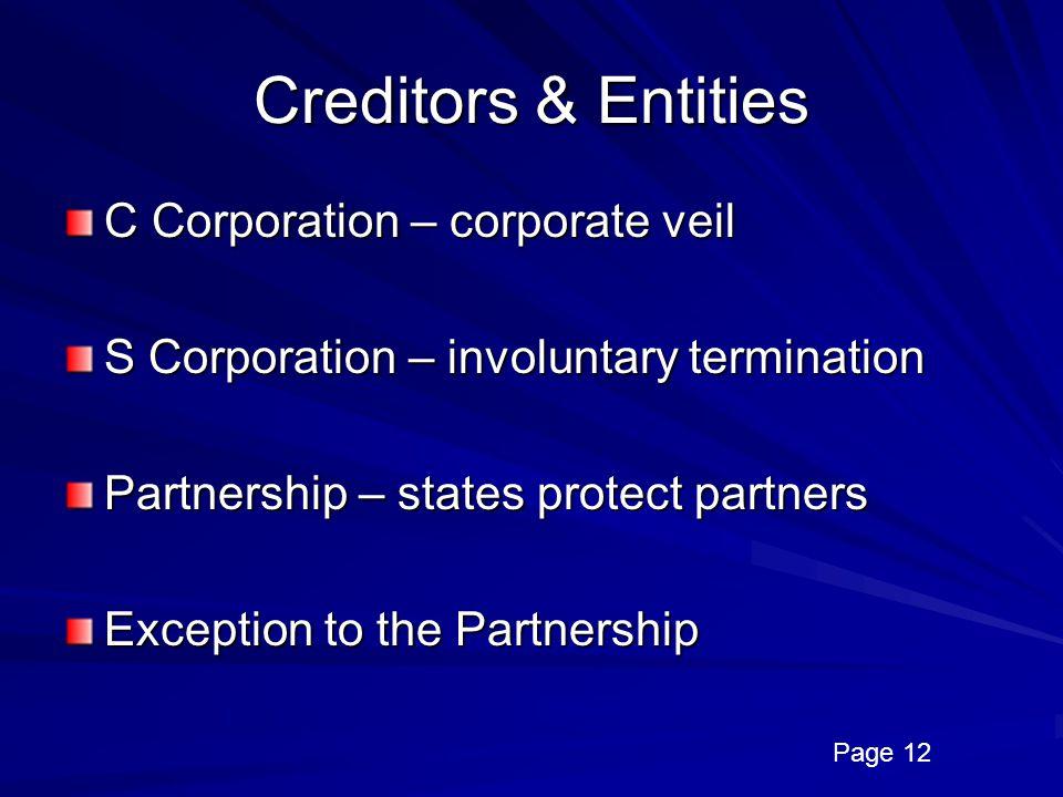 Creditors & Entities C Corporation – corporate veil