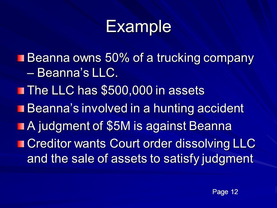 Example Beanna owns 50% of a trucking company – Beanna's LLC.
