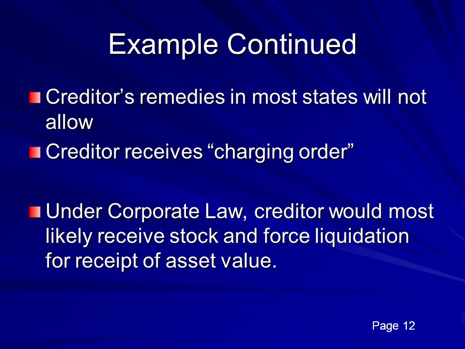 Example Continued Creditor's remedies in most states will not allow