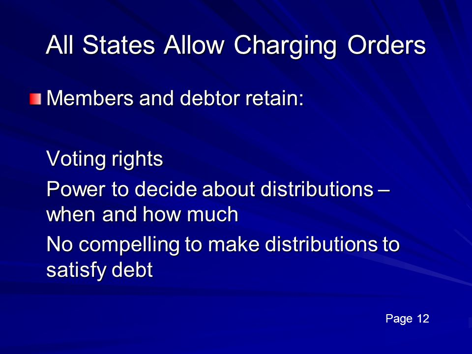 All States Allow Charging Orders