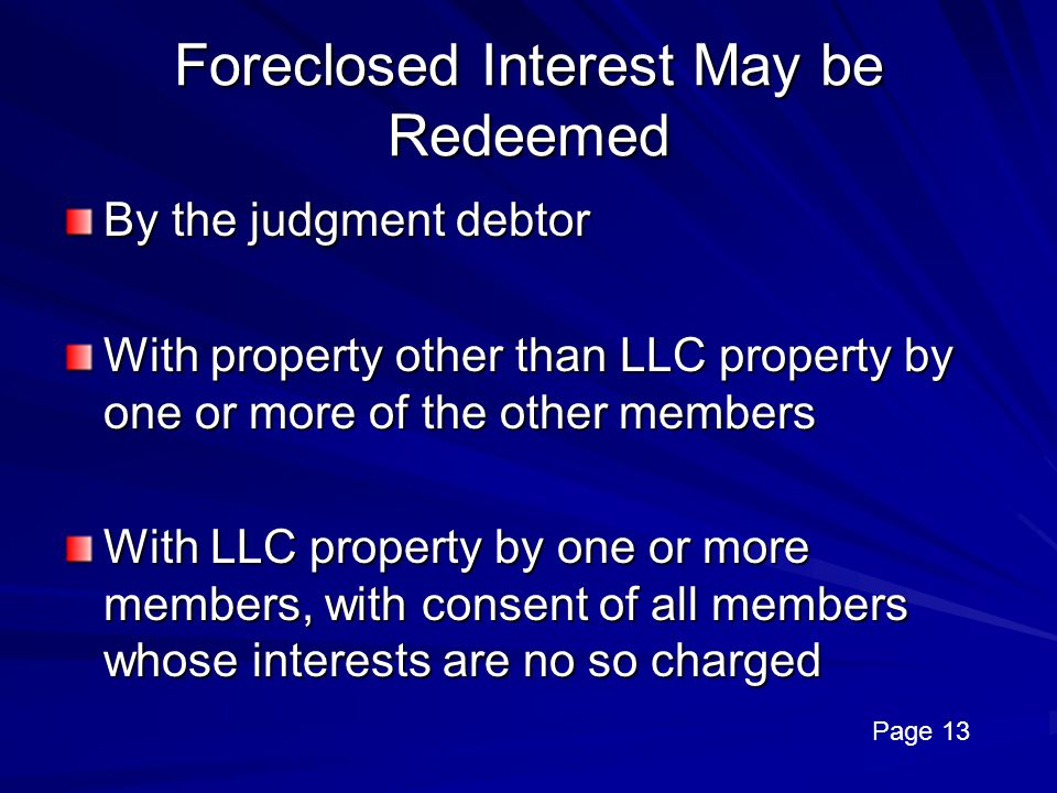Foreclosed Interest May be Redeemed