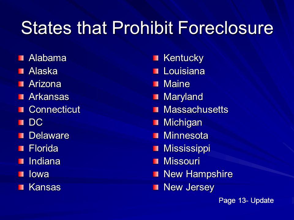 States that Prohibit Foreclosure