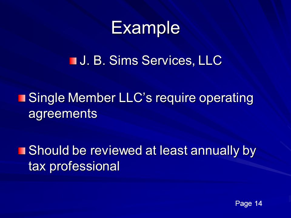 Example J. B. Sims Services, LLC