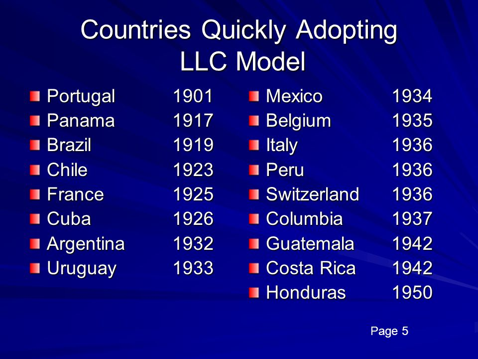Countries Quickly Adopting LLC Model