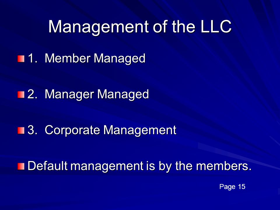 Management of the LLC 1. Member Managed 2. Manager Managed