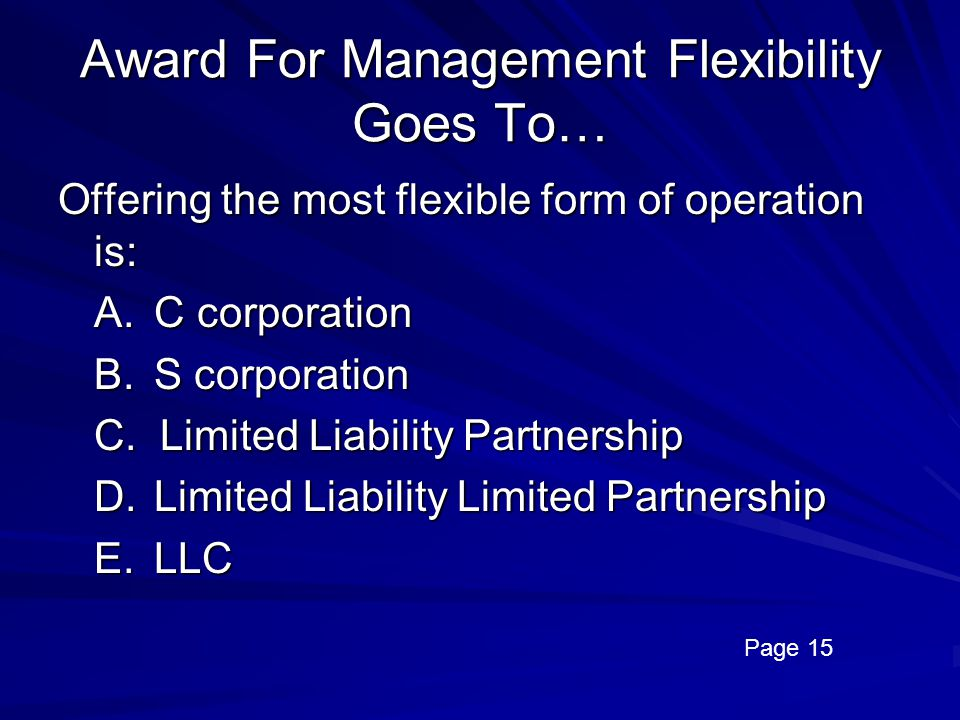 Award For Management Flexibility Goes To…