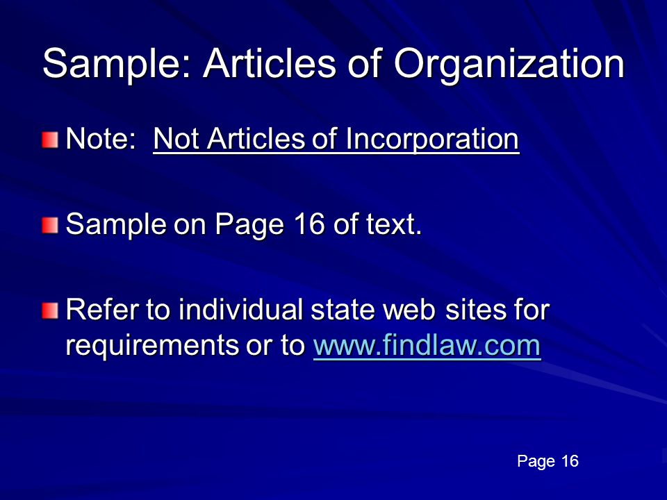 Sample: Articles of Organization