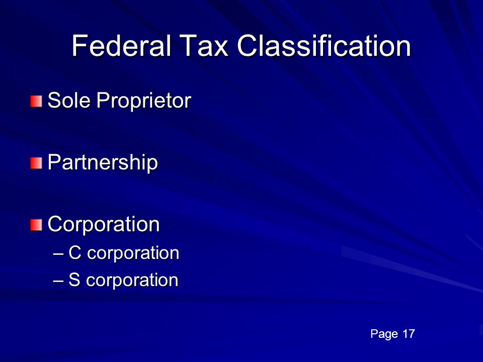 Federal Tax Classification