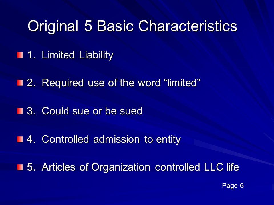 Original 5 Basic Characteristics