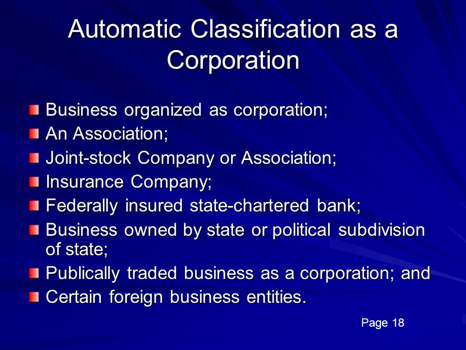 Automatic Classification as a Corporation