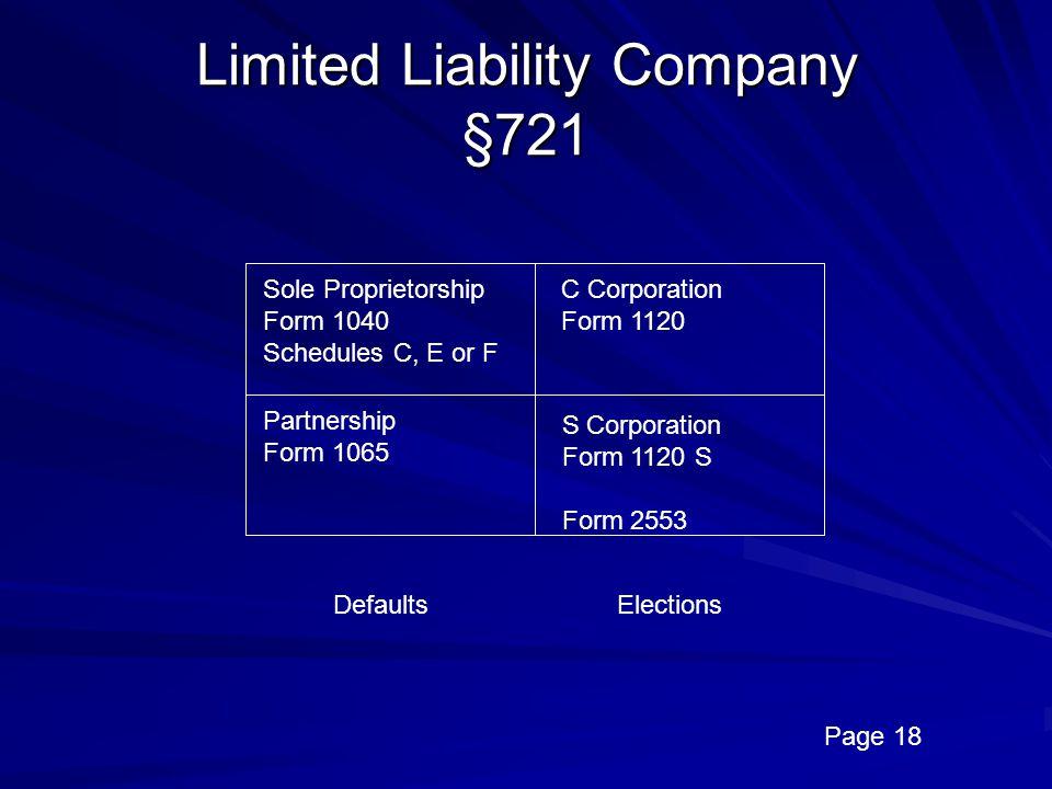 Limited Liability Company §721
