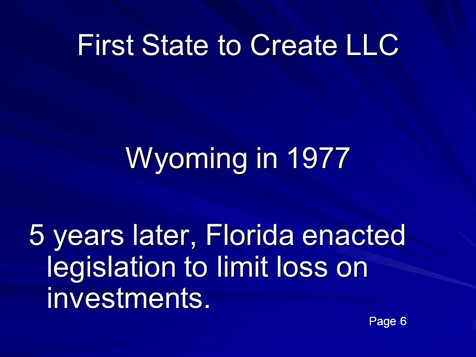 First State to Create LLC
