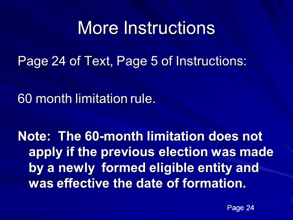 More Instructions Page 24 of Text, Page 5 of Instructions: