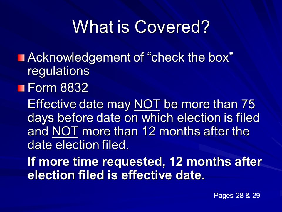 What is Covered Acknowledgement of check the box regulations