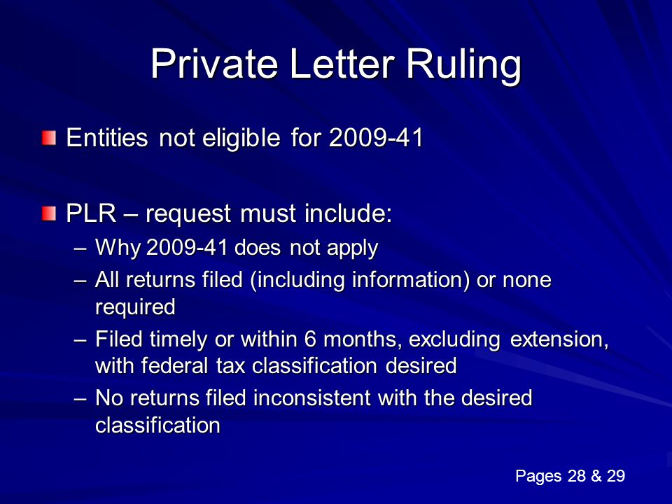 Private Letter Ruling Entities not eligible for 2009-41