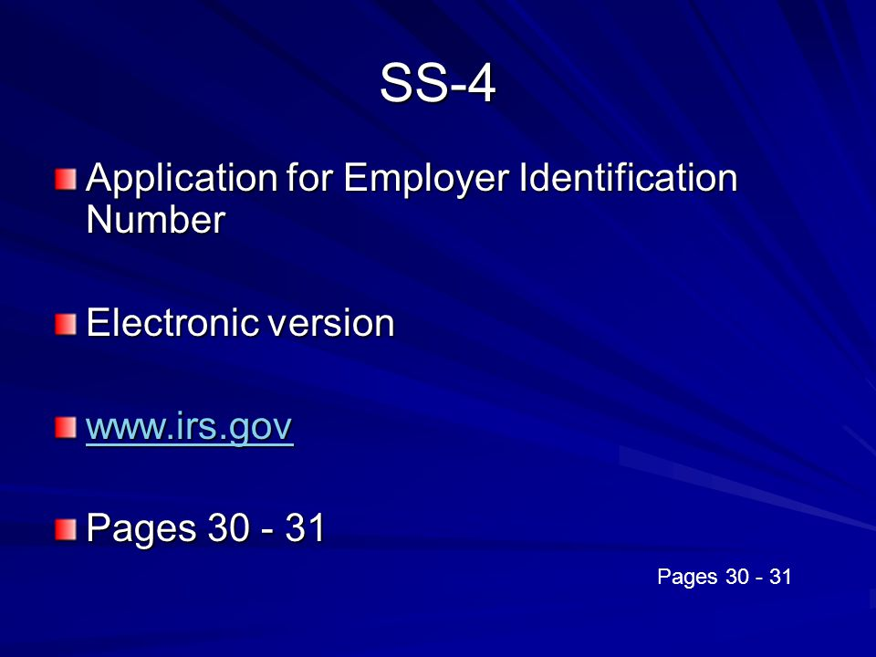 SS-4 Application for Employer Identification Number Electronic version