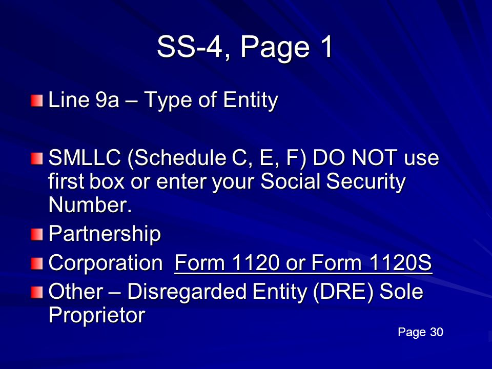 SS-4, Page 1 Line 9a – Type of Entity
