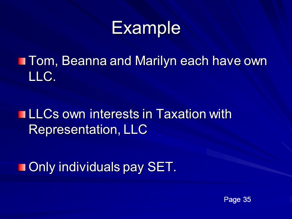 Example Tom, Beanna and Marilyn each have own LLC.