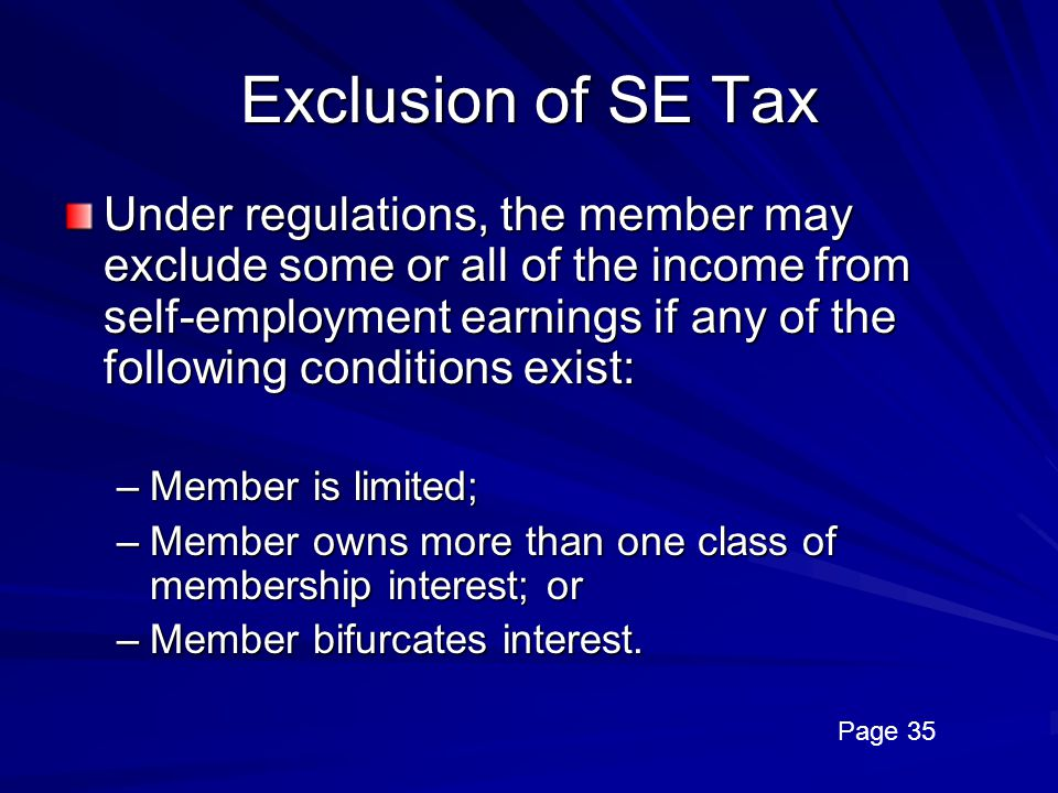 Exclusion of SE Tax