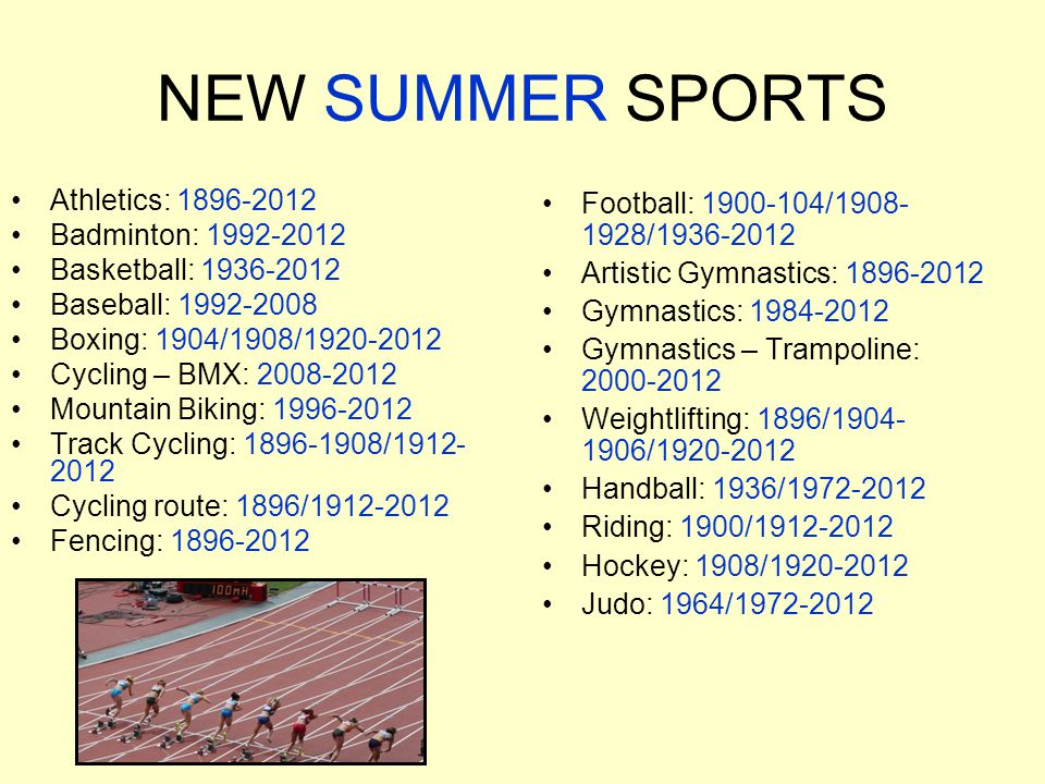 NEW SUMMER SPORTS Athletics: 1896-2012 Badminton: 1992-2012