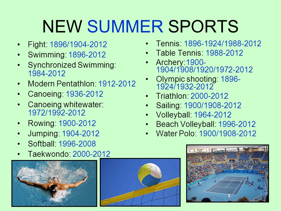 NEW SUMMER SPORTS Fight: 1896/1904-2012 Swimming: 1896-2012
