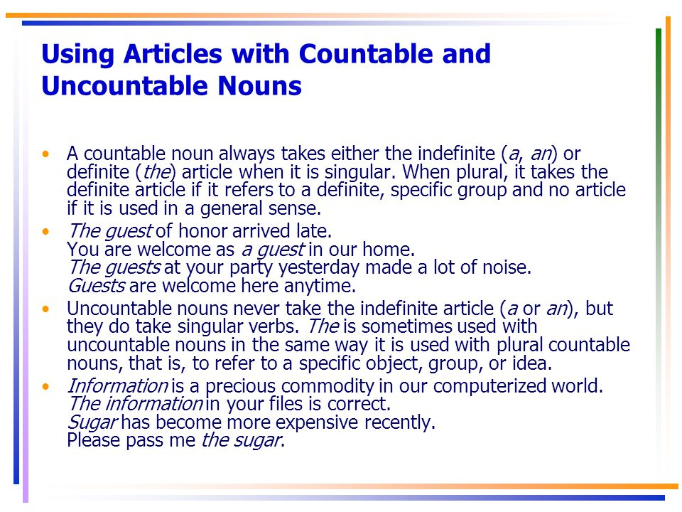 Using Articles with Countable and Uncountable Nouns