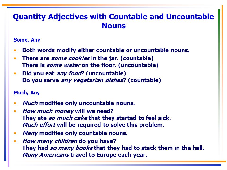 Quantity Adjectives with Countable and Uncountable Nouns